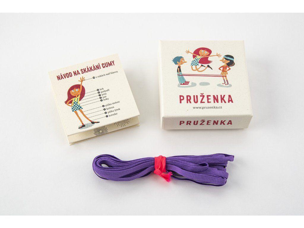 Hra Pruženka 4 kavky - fialová skákací guma