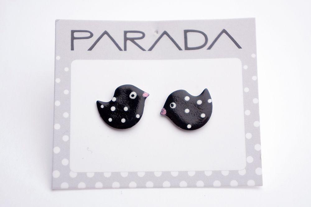 Náušnice Parada - černí ptáci