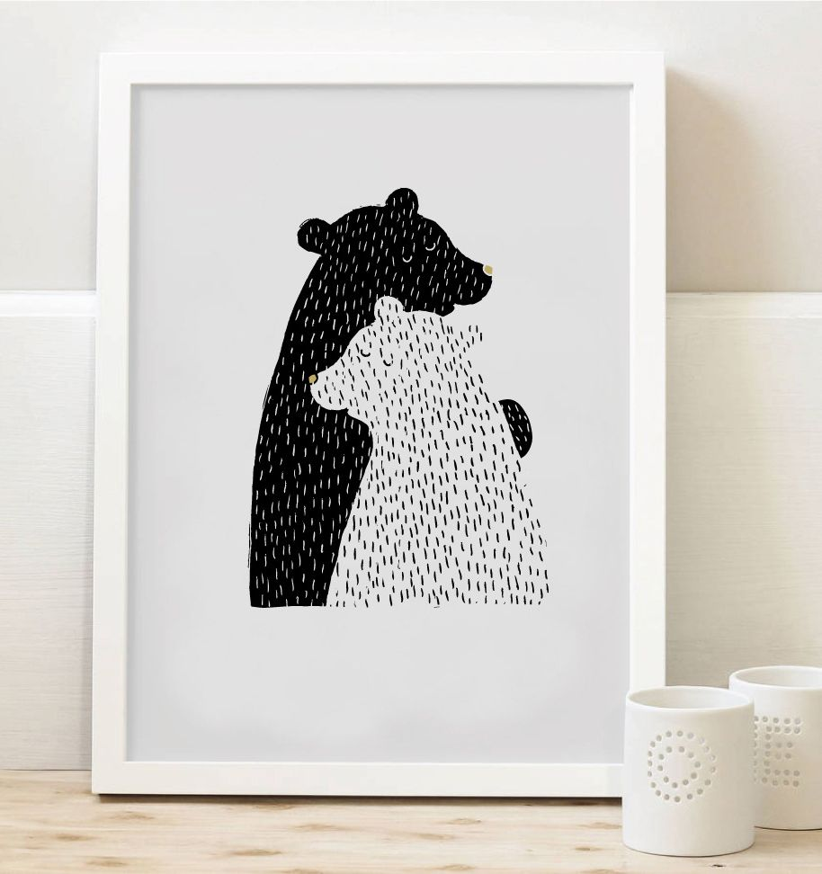 Tisk Z lesa - Dva medvědi A4