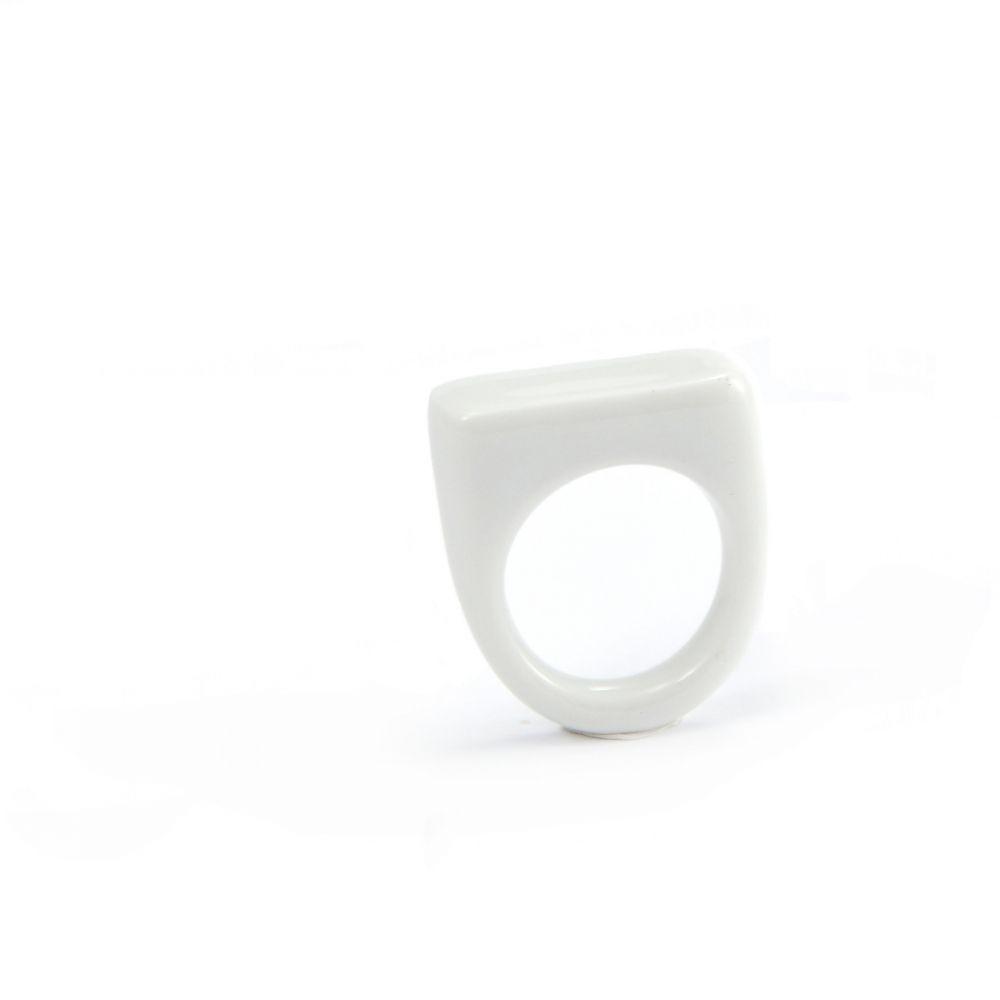 Prsten MH - bílý hranatý basic