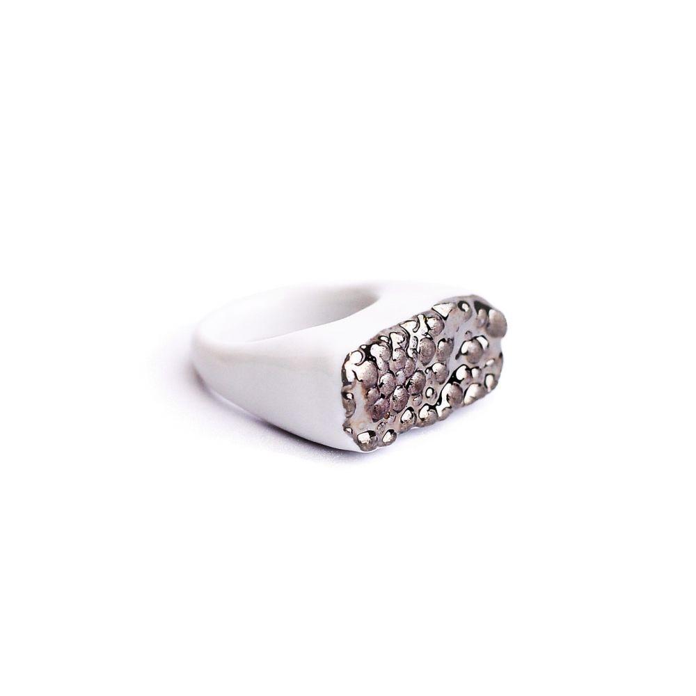 Prsten MH - platinová textura