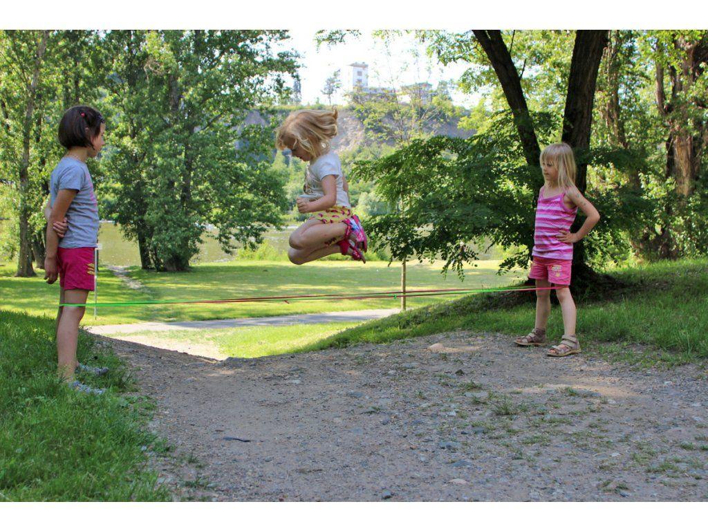 Hra Pruženka 4 kavky - růžová skákací guma