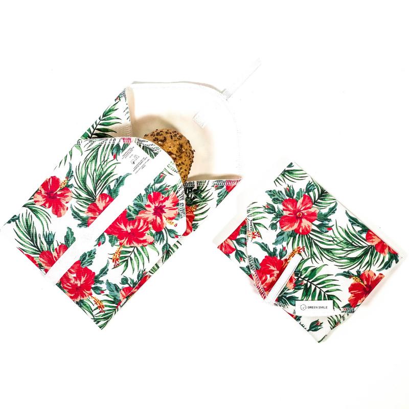 Svačinový ubrousek Green smile - (hawai květy)