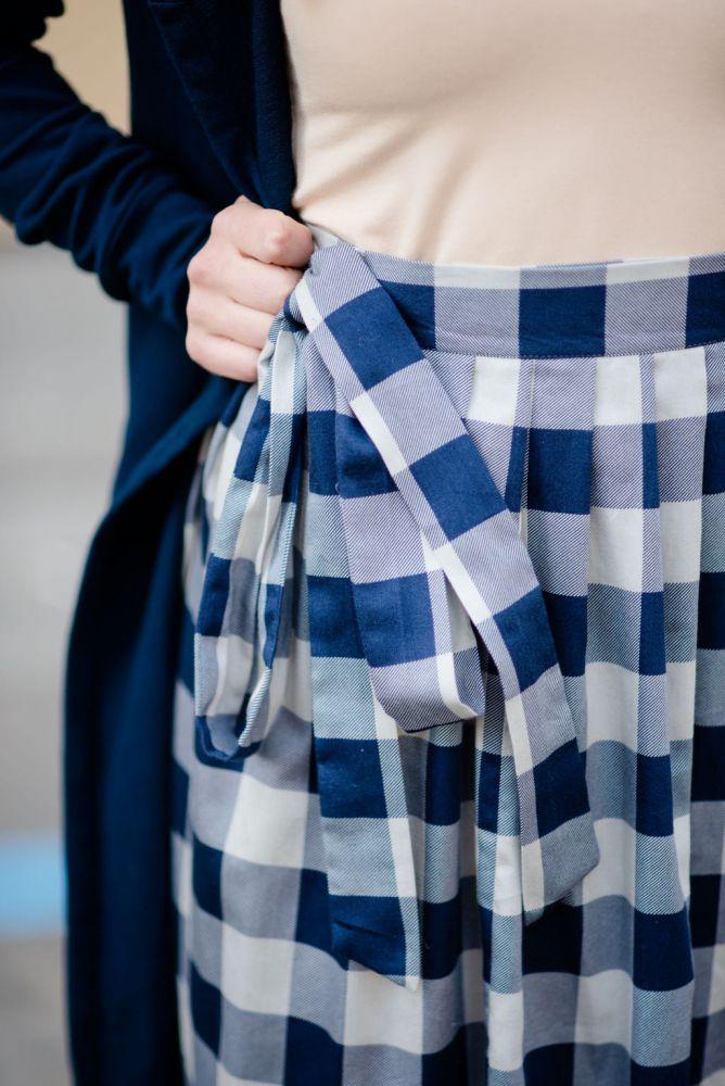 Zavinovací sukně Reparáda - MODRÁ KOSTKOVANÁ