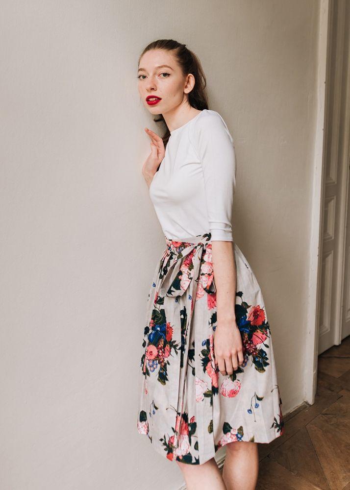 Zavinovací sukně Reparáda - BÉŽOVÁ S KVĚTY