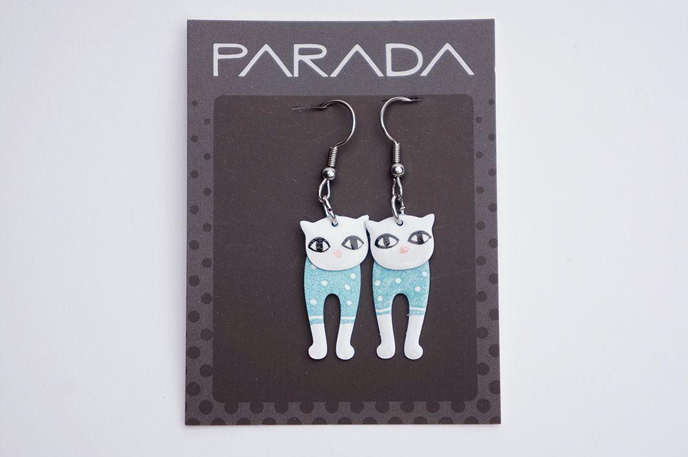 Náušnice Parada - modré kočky
