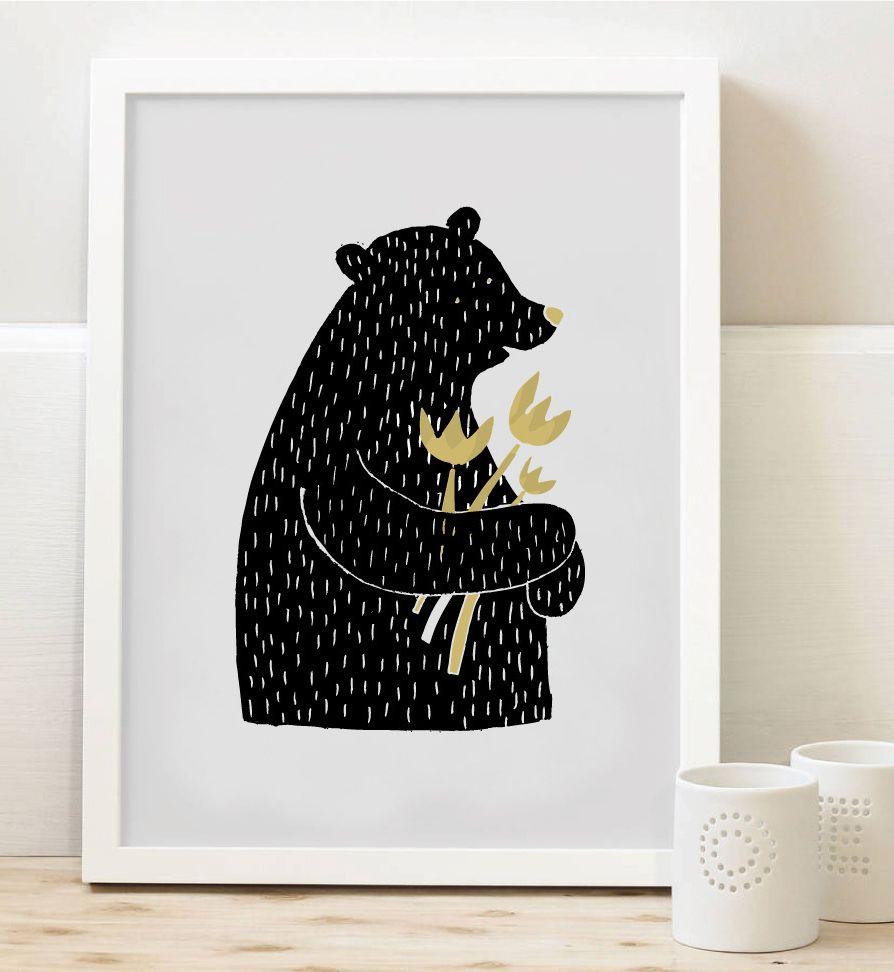 Tisk Z lesa - Medvěd s květinou A4