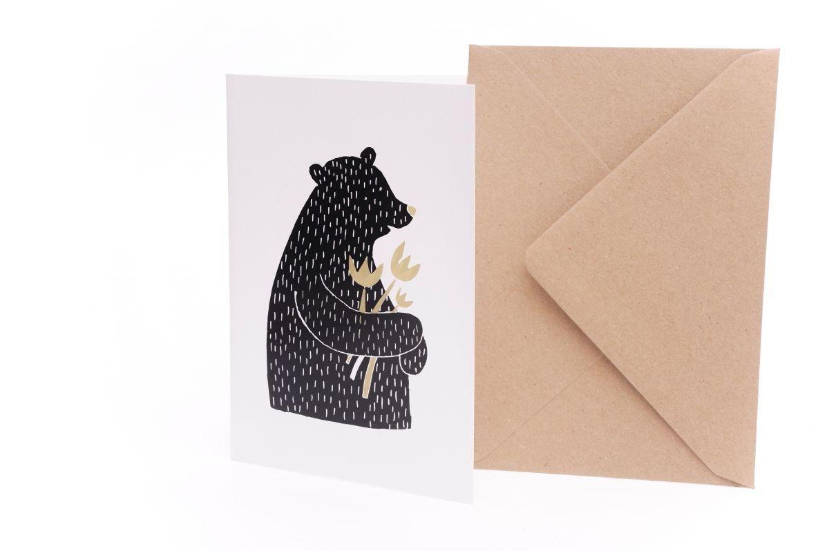 Přání Z lesa - Medvěd s kytkou