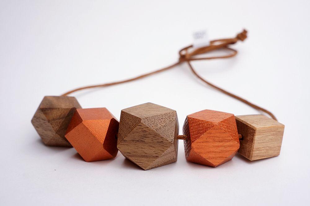 Náhrdelník Dřevohra - přírodní + měď