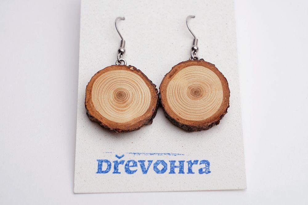 Náušnice Dřevohra - kruhy visací
