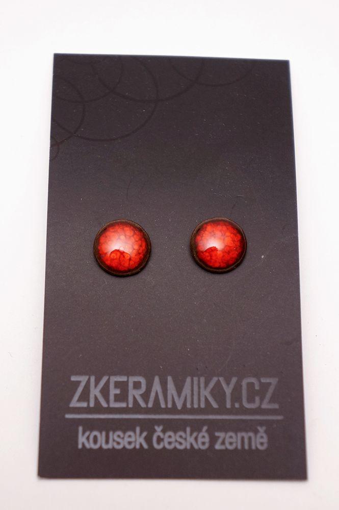 Náušnice Zkeramiky - červené kruhy