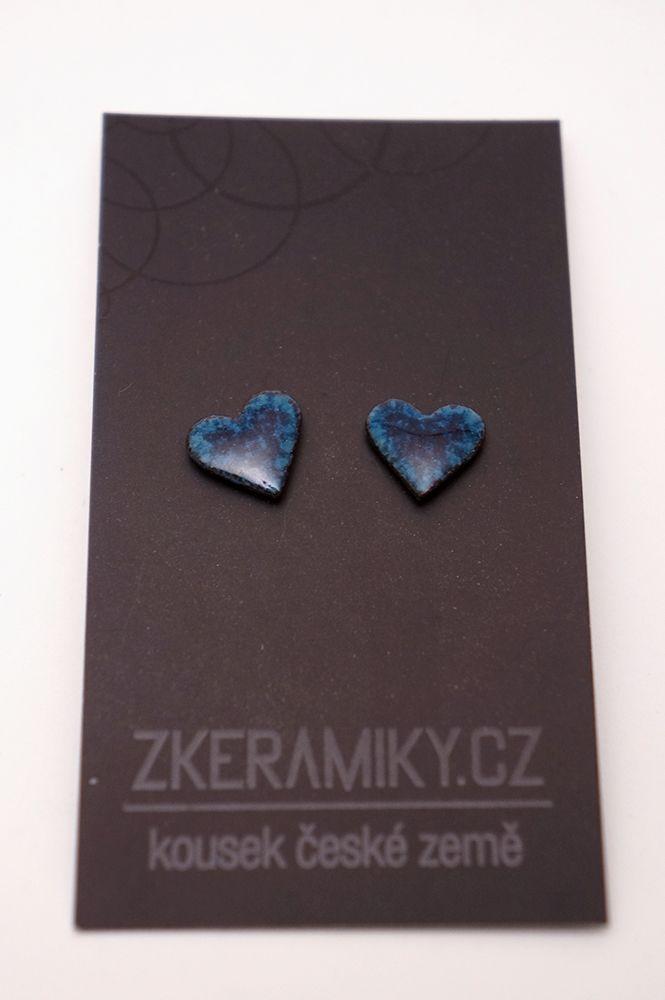 Náušnice Zkeramiky - modrá srdce