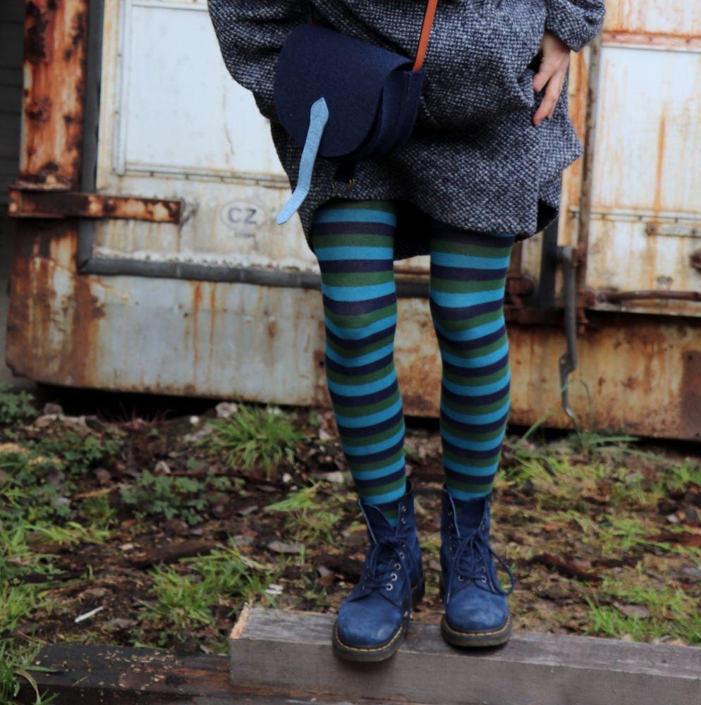 Švambi - punčochy - modro-zelené, úzký pruh
