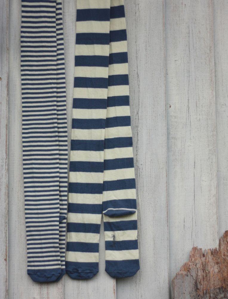 Švambi - punčochy - modro-krémové, široký pruh