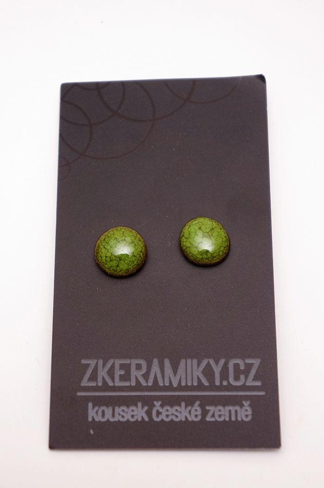 Náušnice Zkeramiky - zelené kruhy