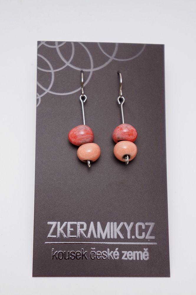 Náušnice Zkeramiky - růžové kapky