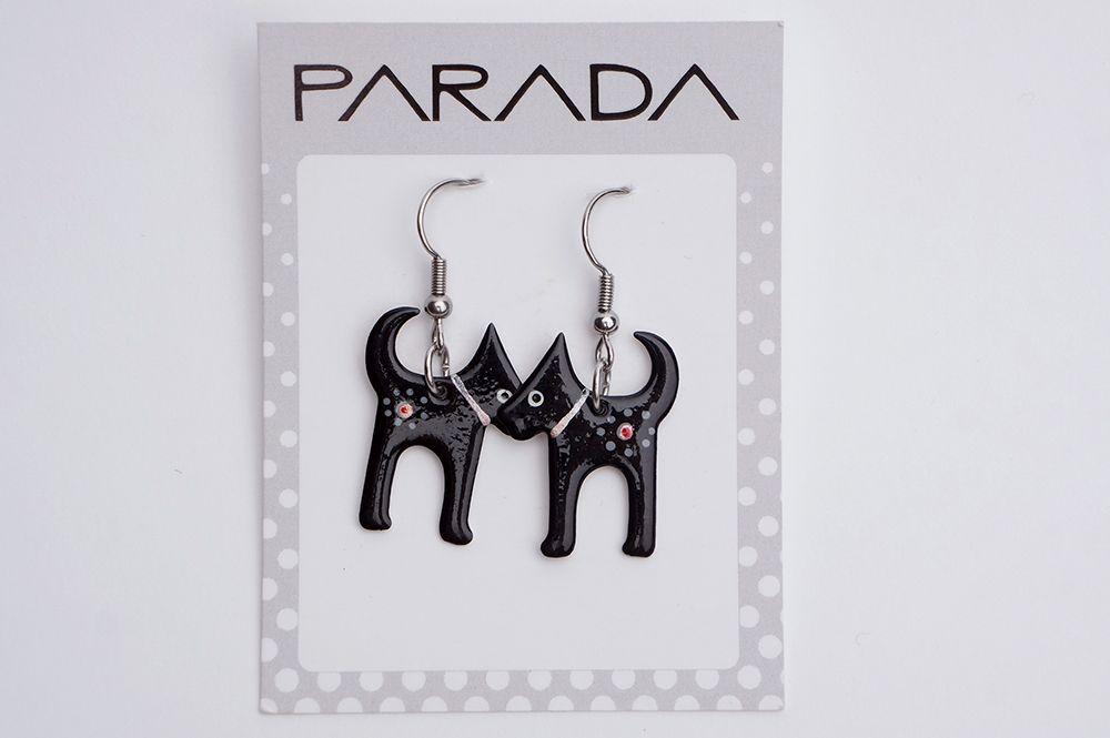 Náušnice Parada - černé kočky
