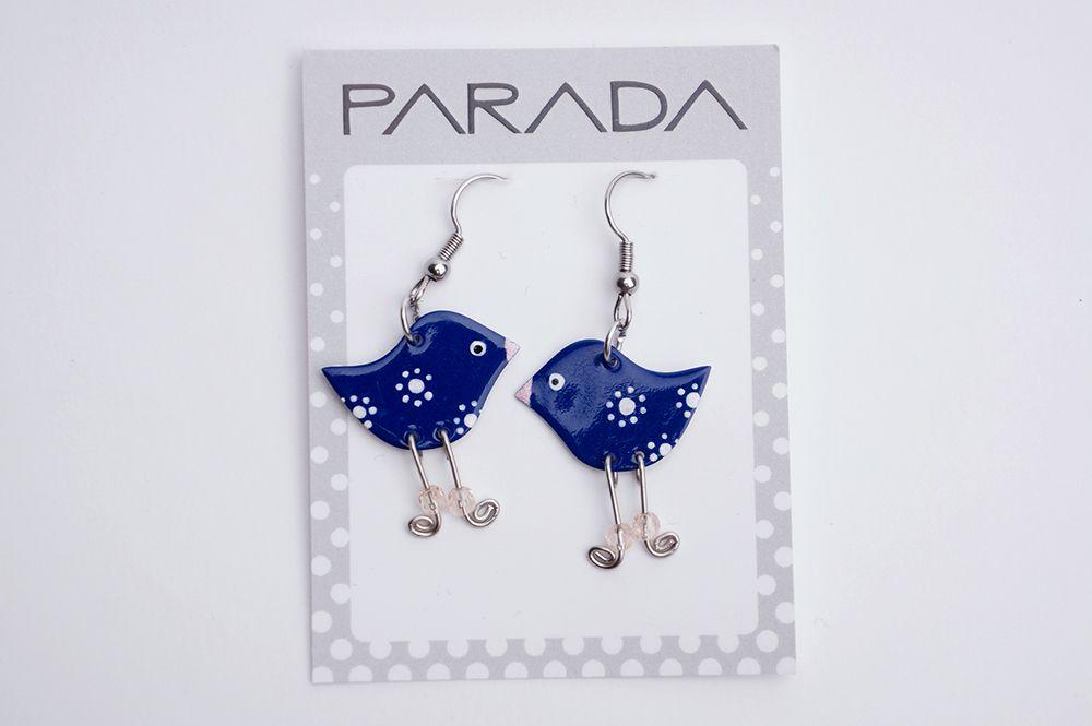 Náušnice Parada - modří ptáčci