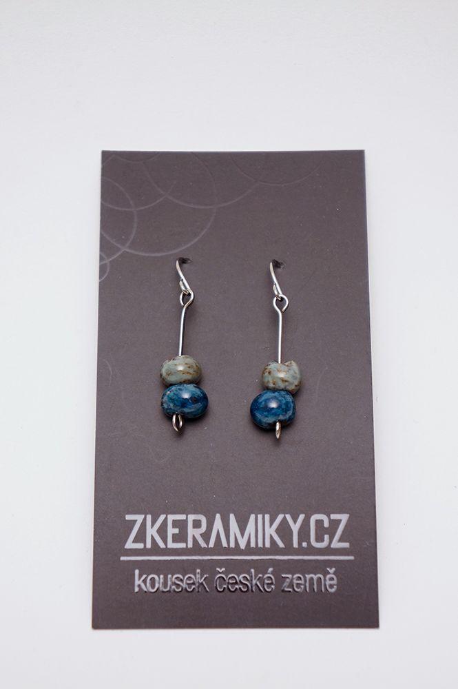 Náušnice Zkeramiky - modro-šedé kapky
