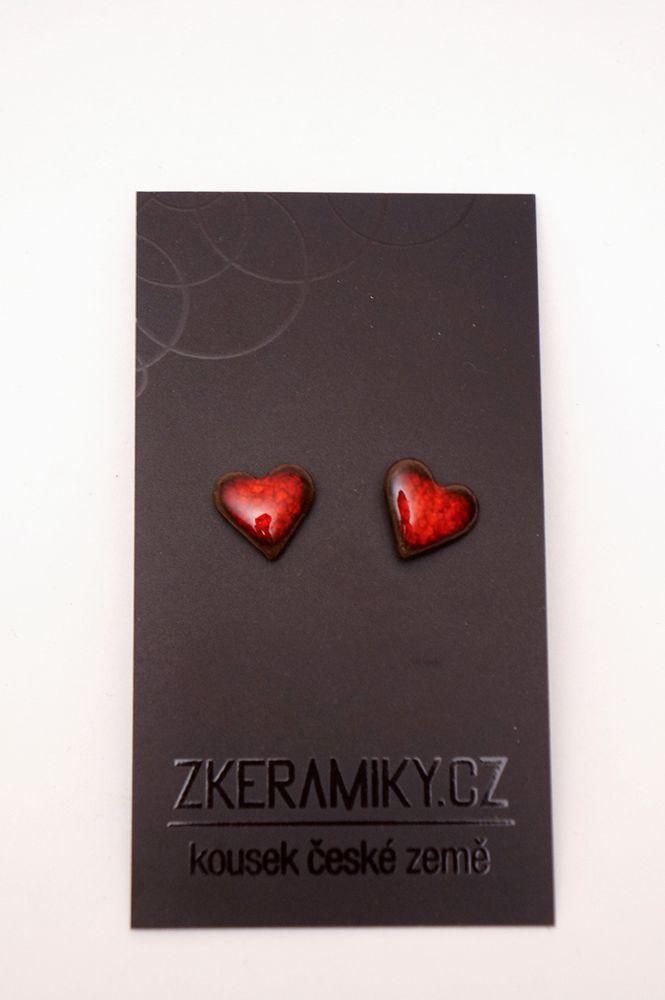 Náušnice Zkeramiky - červená srdce