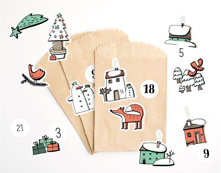Přání Z lesa - Vánoční samolepky arch (adventní kalendář)