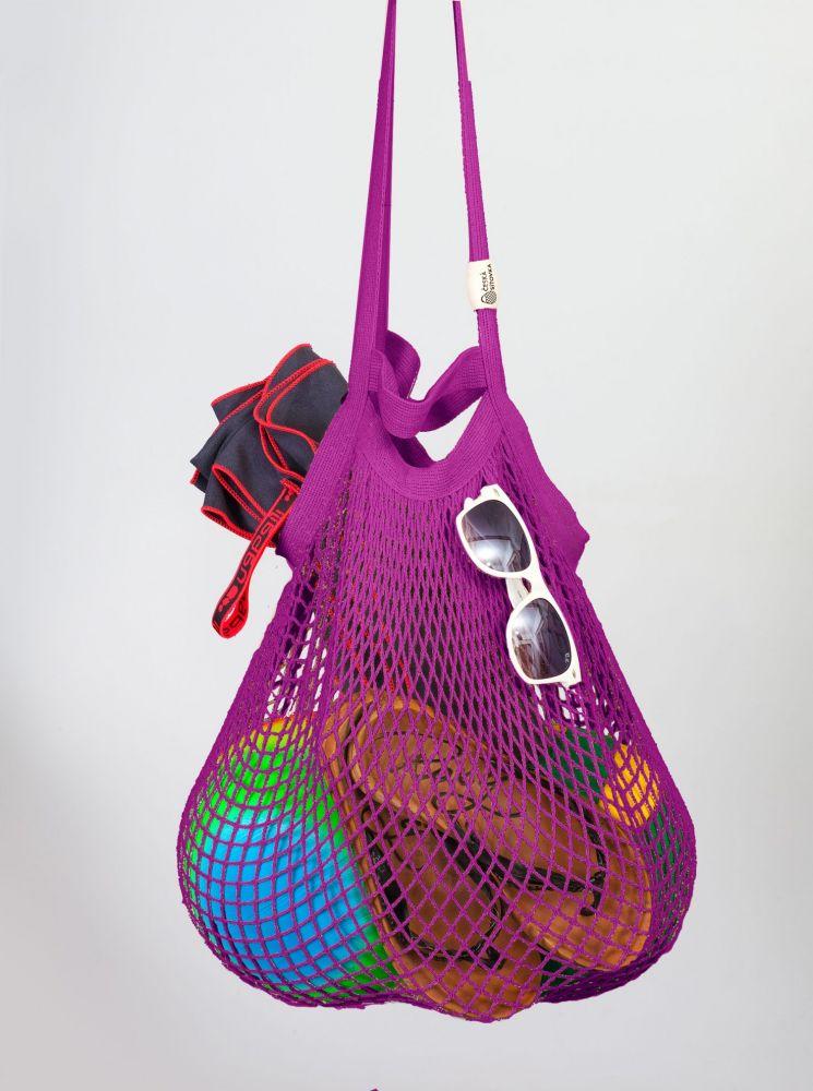 Síťovka - Bavlněný koš - fialová