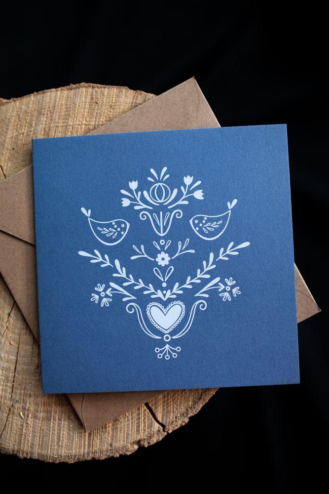 Přání Rozkvetlá - Folklor modrá