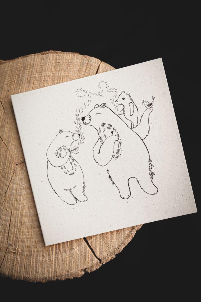 Přání Rozkvetlá - Medvědí rodinka