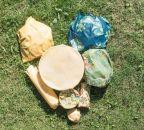 Voskovaný ubrousek Včelobal - M zelené puntíky