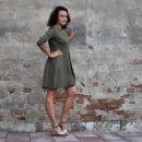 Šaty Loop - skládané Khaki